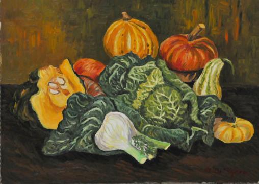 Natura morta con verdura – olio su tavola cm 50×70