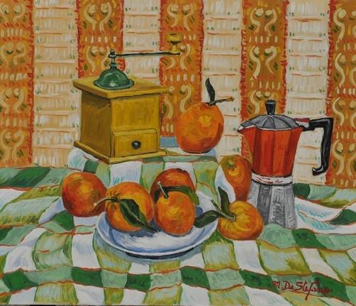 Natura morta con macinino e caffettiera – olio su tavola cm 50×60