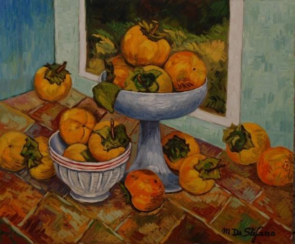 Composizione con cachi ciotola e varie – olio su tavola 50×60