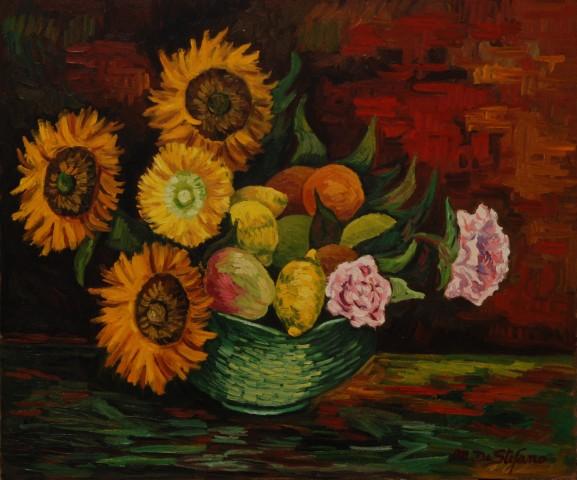 Composizione con frutta girasoli e varie – olio su tavola cm 50×60