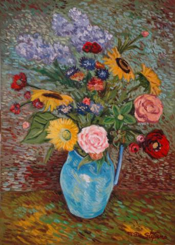 Vaso di fiori con lillà rose girasoli e altri. olio su tavola cm 70×50