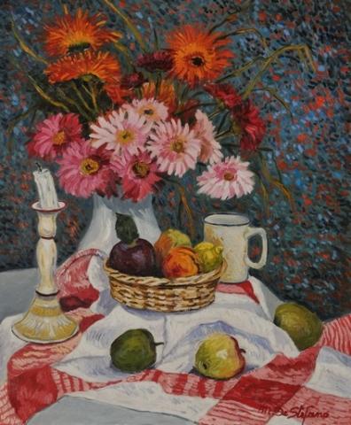 Composizione di fiori in vaso rosso. olio su tavola cm 60×50