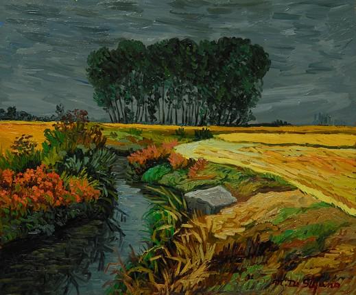 Risaie con canale. olio su tavola cm 50×60