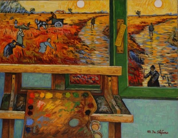 Oltre la finestra. olio su tavola 70×90