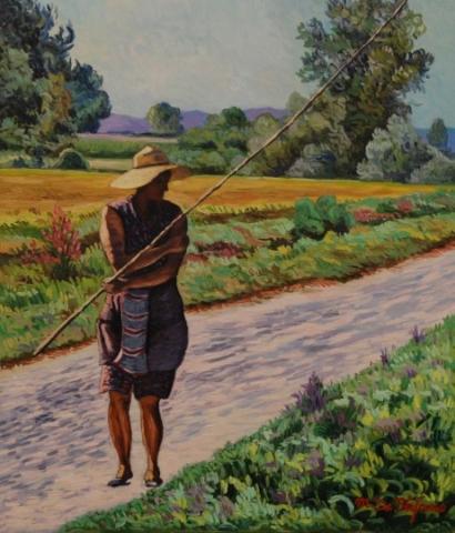 La pescatrice di rane. olio su tavola 70×60
