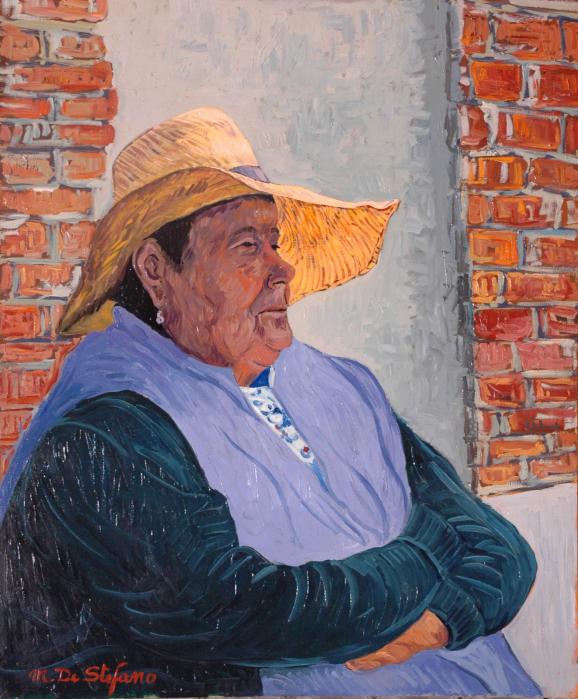 La signora delle risaie. olio su tavola cm 60×50