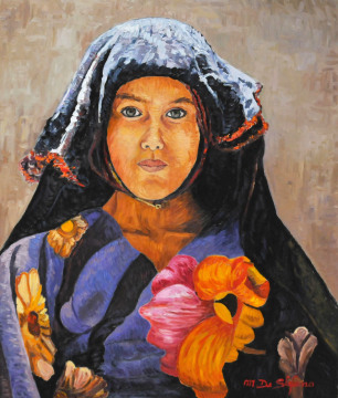 Ragazza nomade con copricapo. olio su tavola cm 70×60