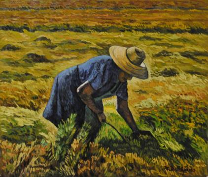 Contadina in risaia. olio su tavola cm 60×70