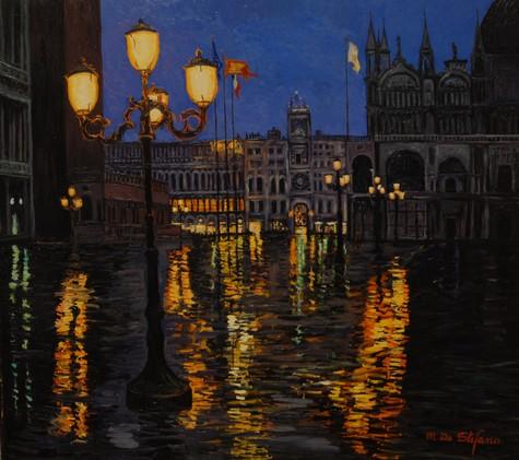 Venezia – Notturno in Piazza San Marco. olio su tavola cm 80x90