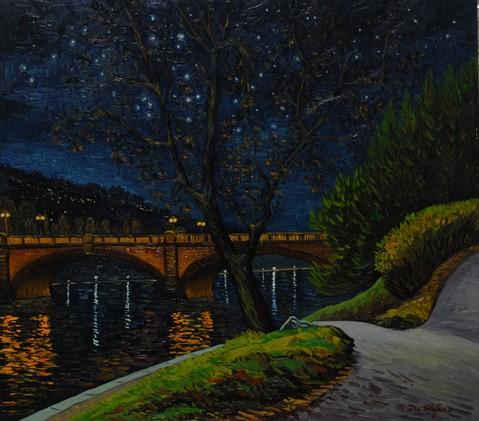 Torino – Notte stellata sul Po. olio su tavola cm 80×90
