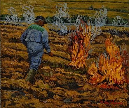 Dopo il raccolto. olio su tavola cm 60×70
